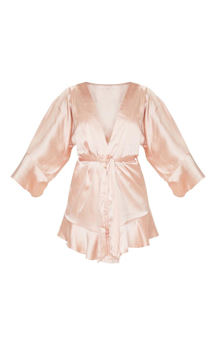 Rose Gold Frill Sleeve Satin Robe 3