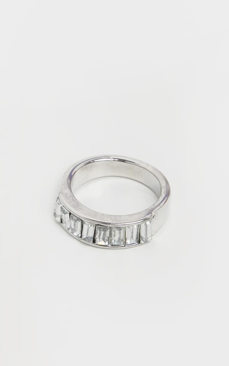 Silver Chunky Diamante Ring  1