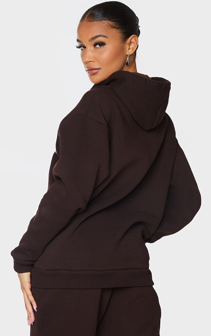 PRETTYLITTLETHING Chocolate Badge Detail Oversized Hoodie 2