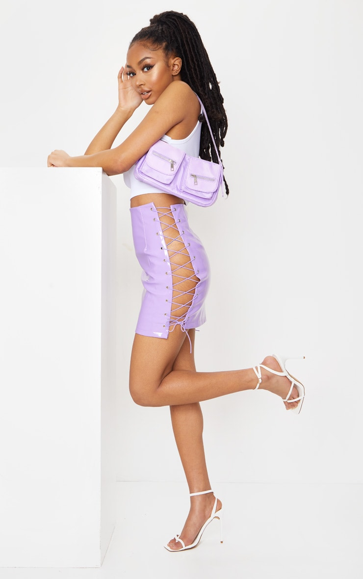 Lilac Vinyl Lace Up Side Mini Skirt 4