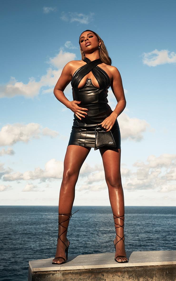 Black Faux Leather Cross Over Underbust Zip Top 3