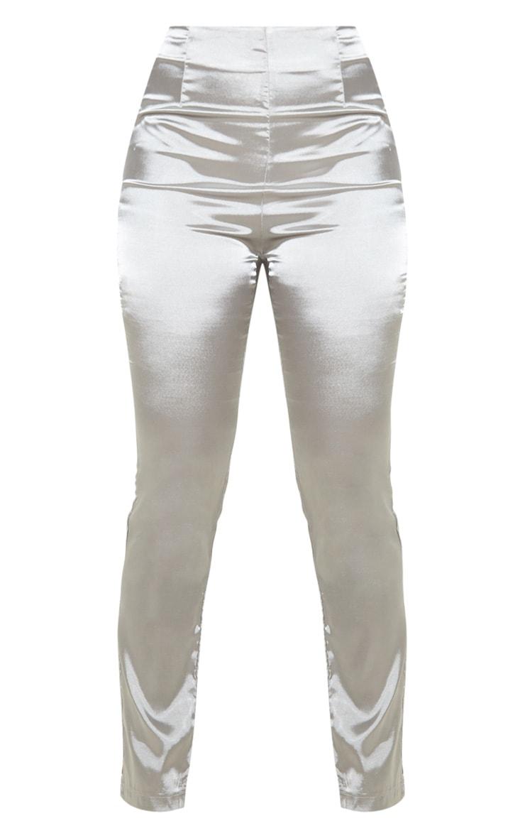 Petite Silver Straight Leg Satin Trouser 3