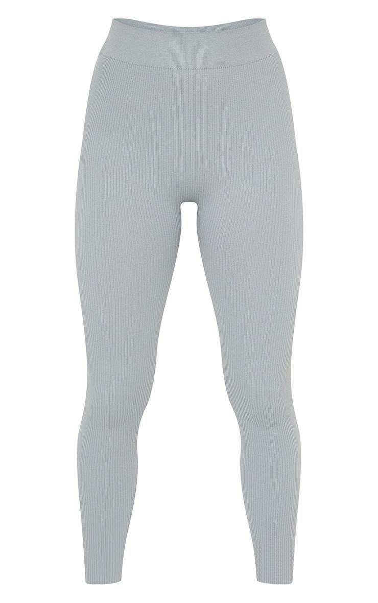 Petite Grey Structured Contour Rib Leggings 5