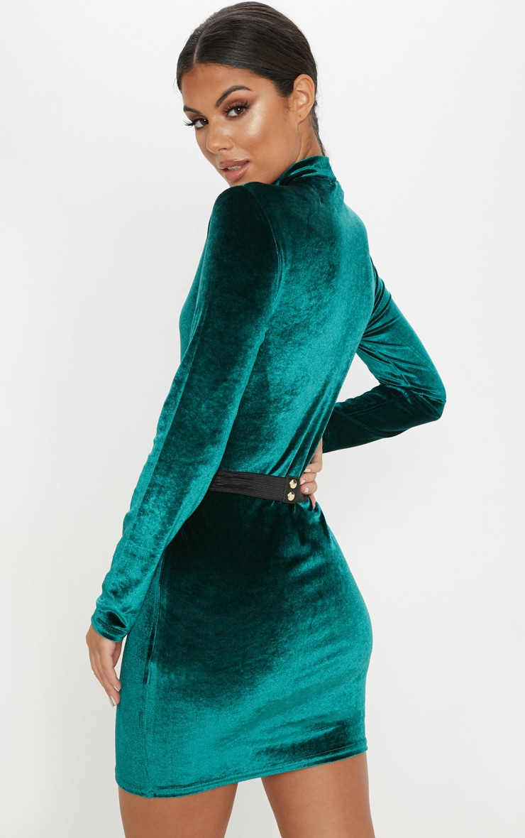 Emerald Green Velvet High Neck Belted Bodycon Dress 2