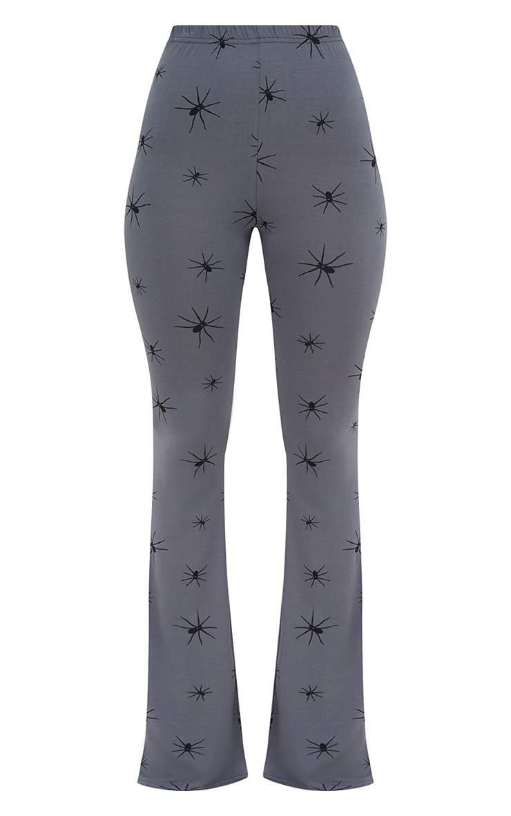 Grey Jersey Spider Print Flared Trousers 3
