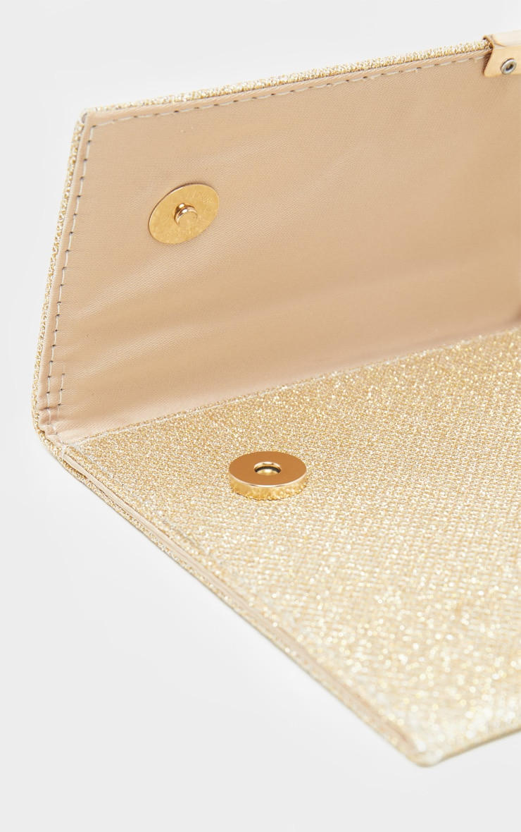 Gold Textured Glitter Basic Clutch 3