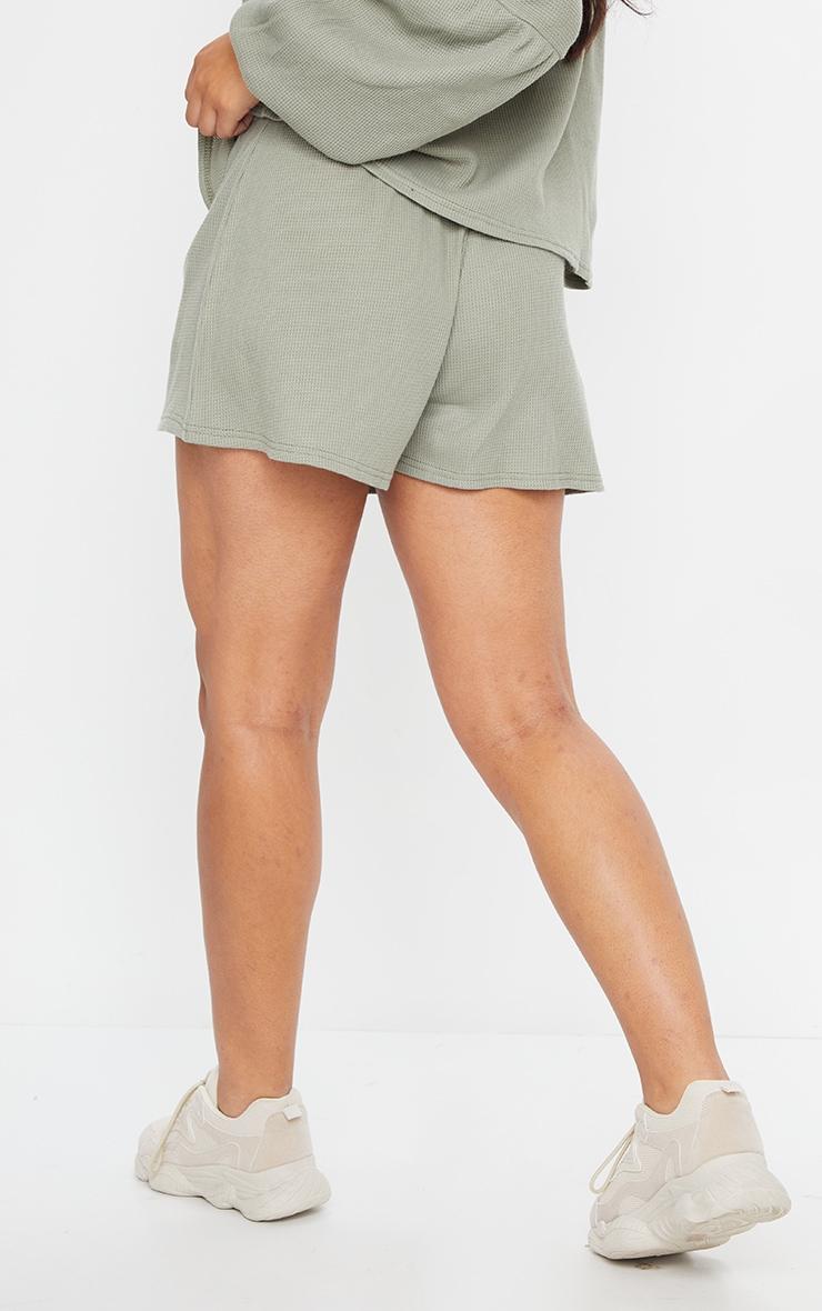 Sage Green Waffle Knit Shorts 3