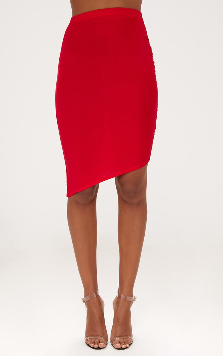 Red Ruched Side Asymmetric Midi Skirt  2