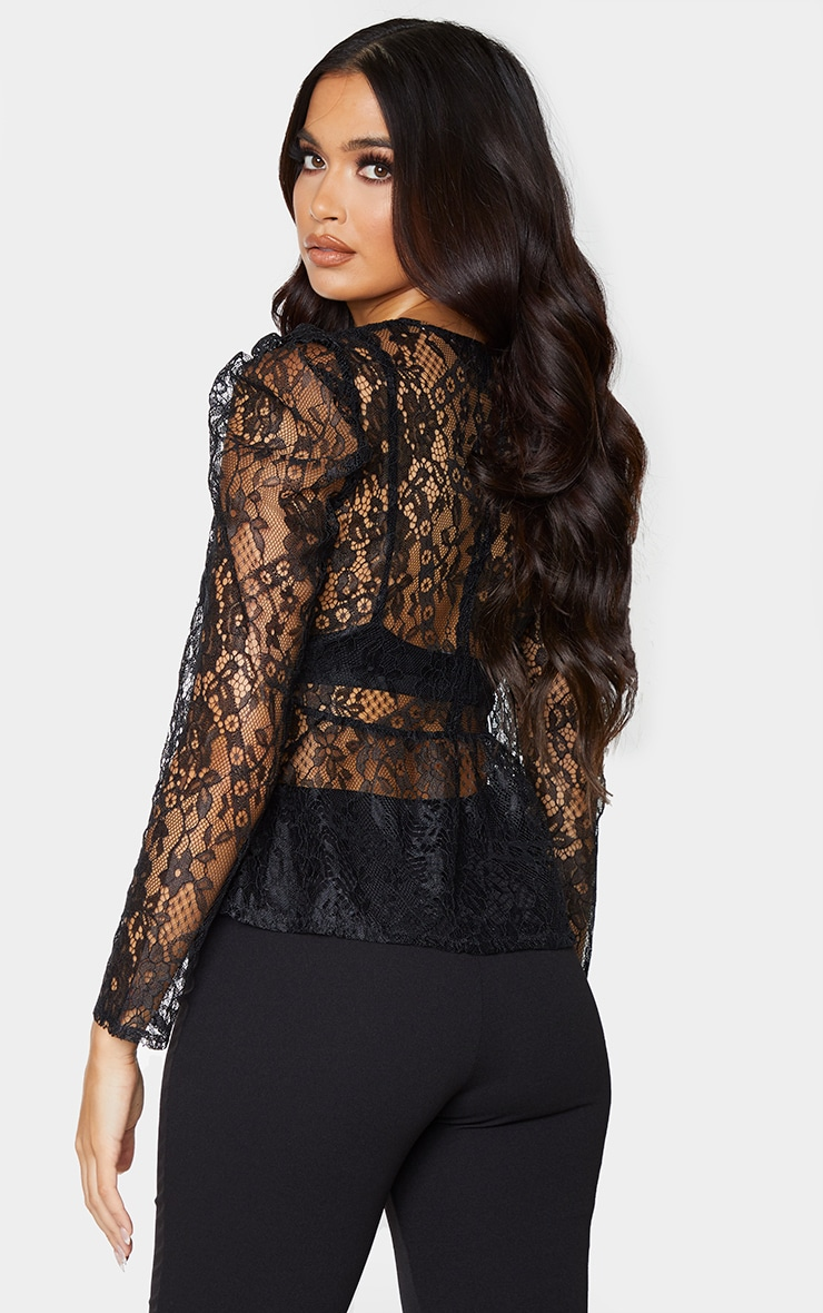 Black Sheer Lace Puff Sleeve Blouse 2