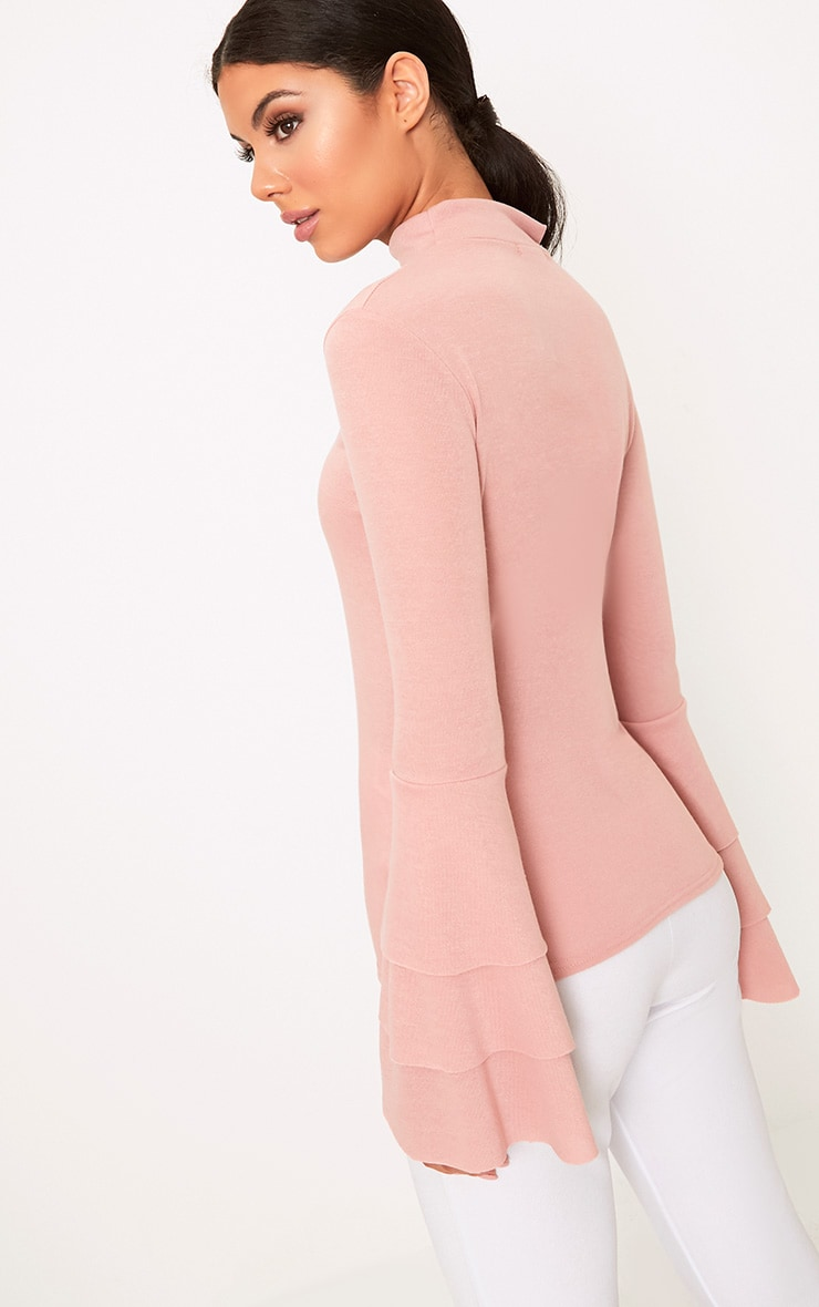 Pink Knit Ruffle Sleeve Jumper 2
