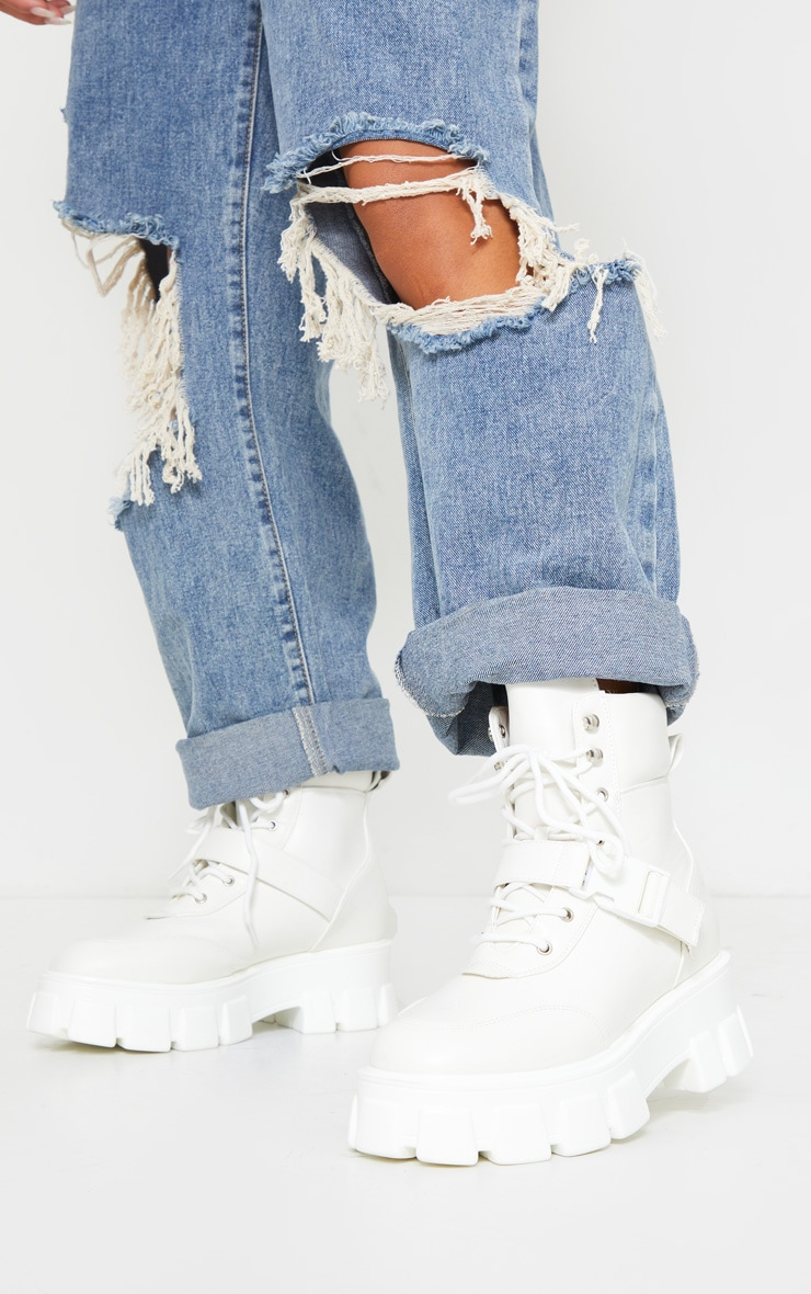 White Extreme Chunky Sole Buckle Clasp Hiker Boots 2