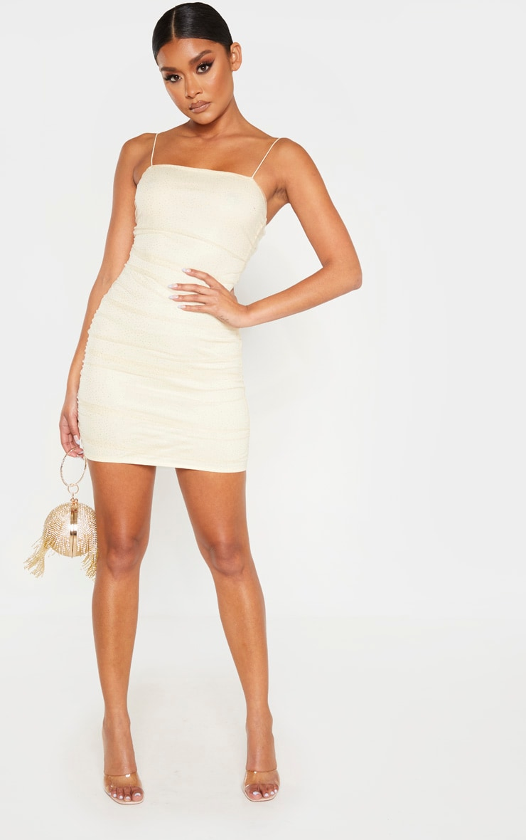 Nude Glitter Mesh Ruched Strappy Bodycon Dress 4