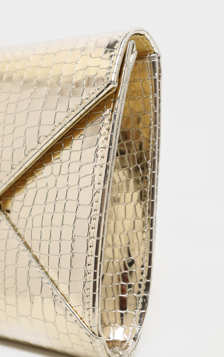 Gold Patent Croc Envelope Clutch 4