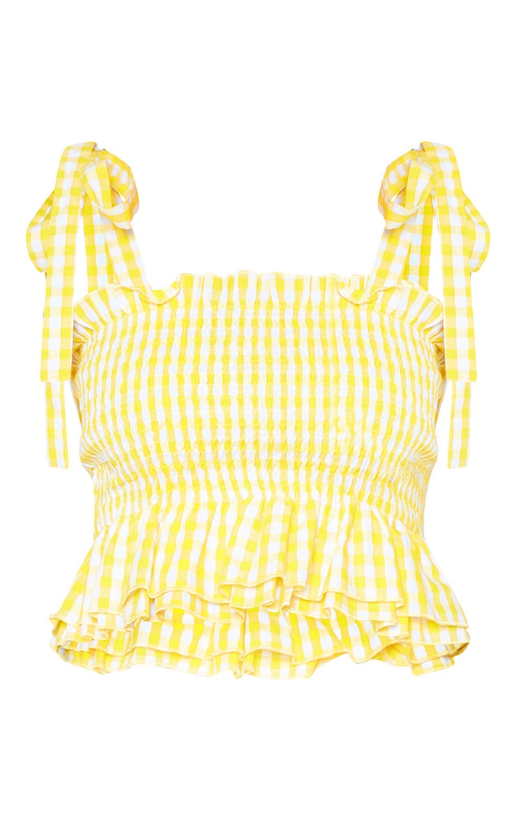 Petite Yellow Gingham  Shirred Tie Strap Crop Top 3