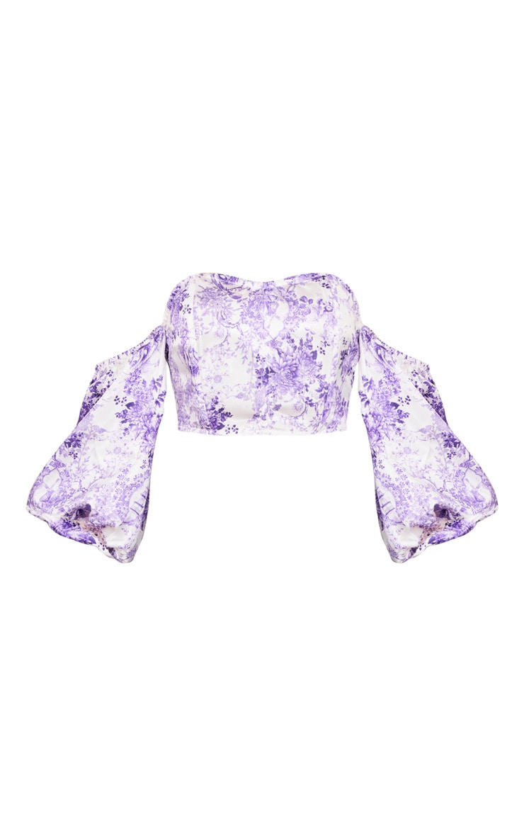 Purple Ditsy Floral Satin Puff Sleeve Bardot Crop Top 5