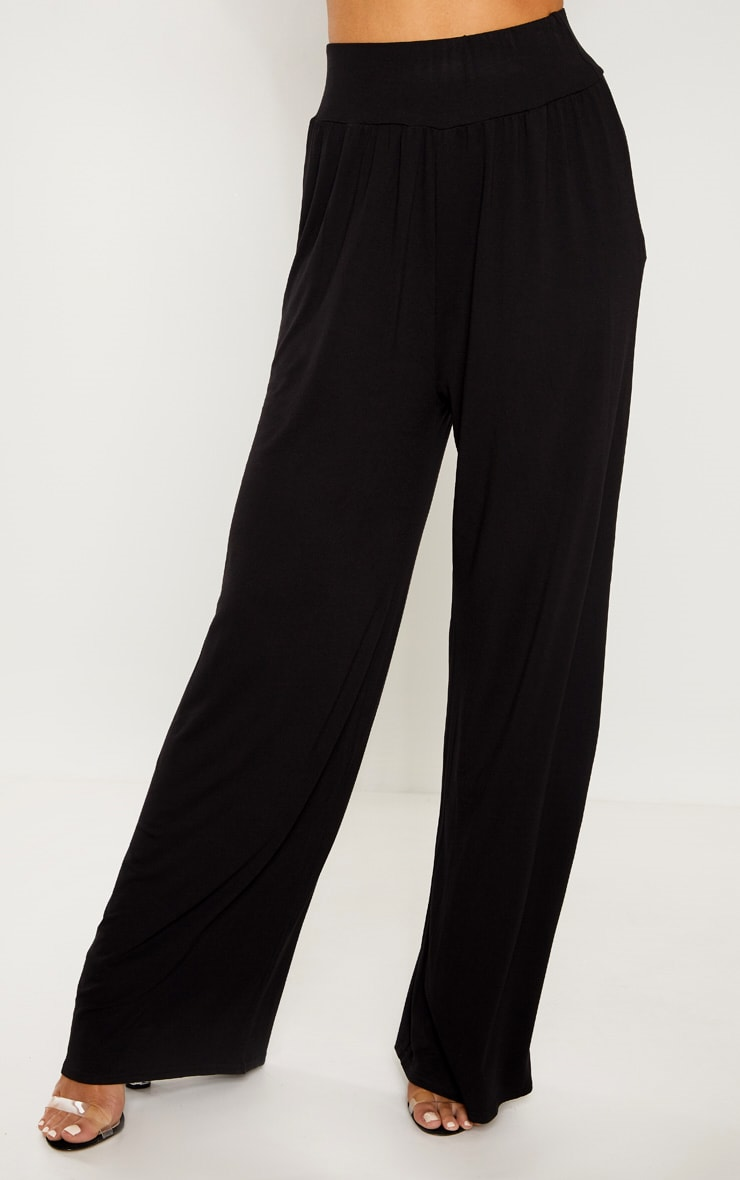 Tall Black High Waist Wide Leg Pants 2