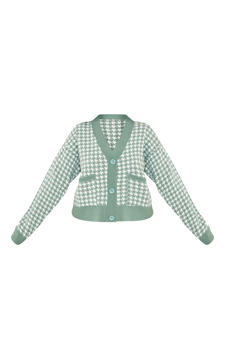 Petite Green Check Oversized Cardigan 5
