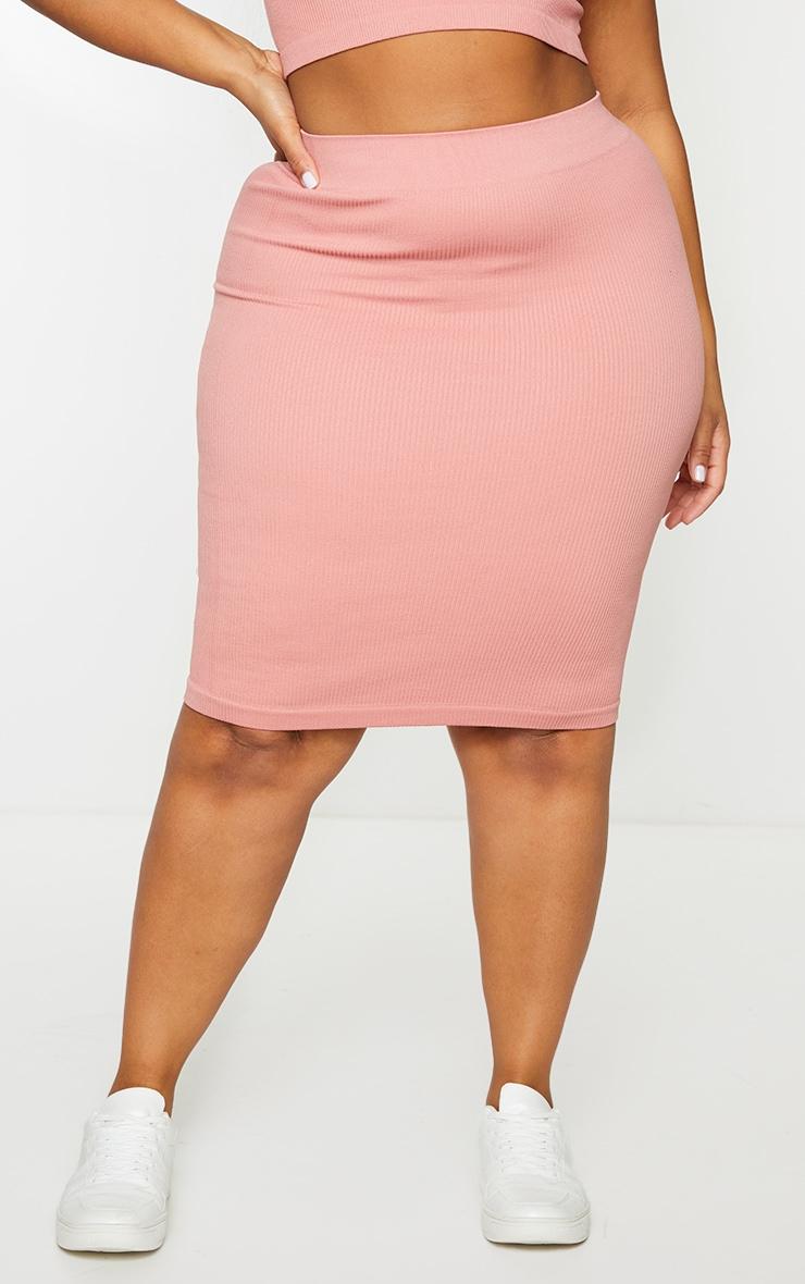 Plus Clay Structured Contour Rib Midi Skirt 2