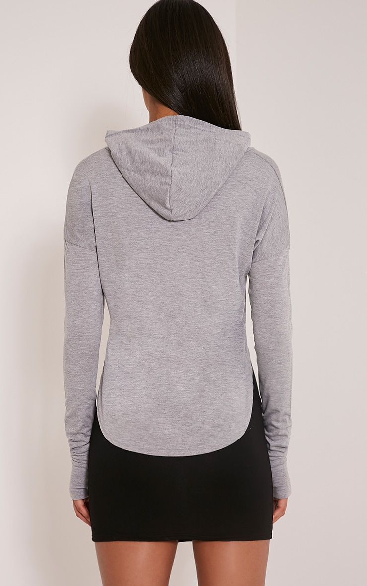 Monah Grey Jersey Cropped Hoodie 2