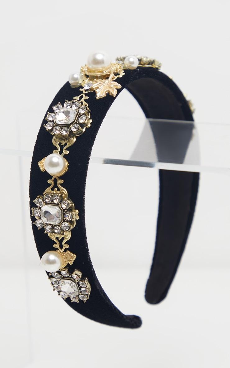 Serre-tête noir à perles style Renaissance 2
