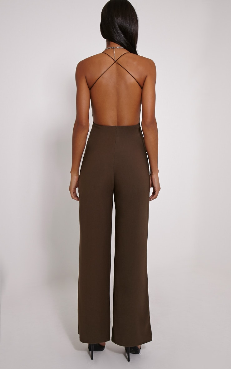 Delara Khaki Cross Back Jumpsuit 2
