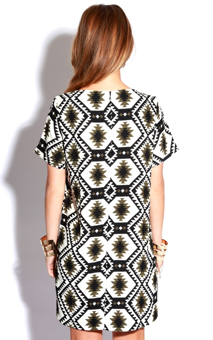 Millu Aztec Khaki Print Dress 2
