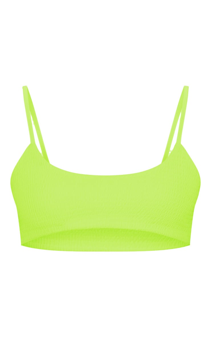 Neon Lime Crinkle Scoop Neck Bikini Top 6