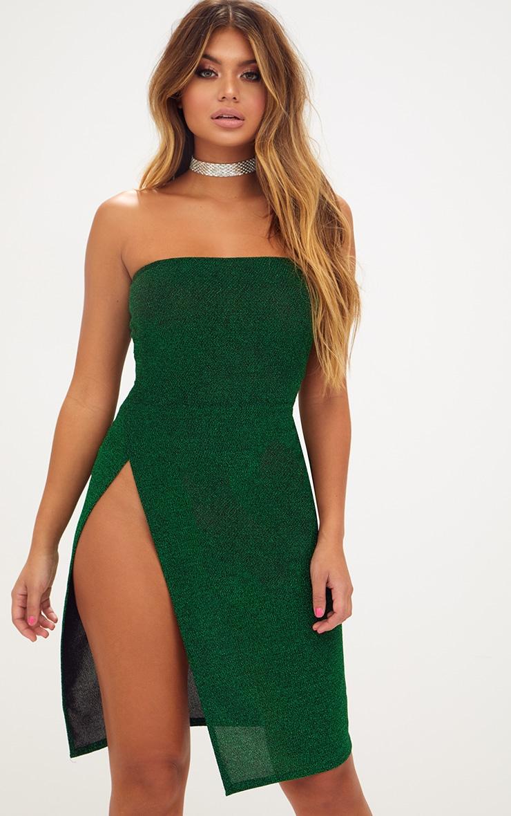 Green Glitter Bandeau Extreme Split Midi Dress 1
