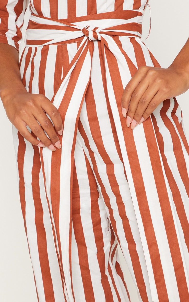 Rust Stripe Tie Detail Jumpsuit  4