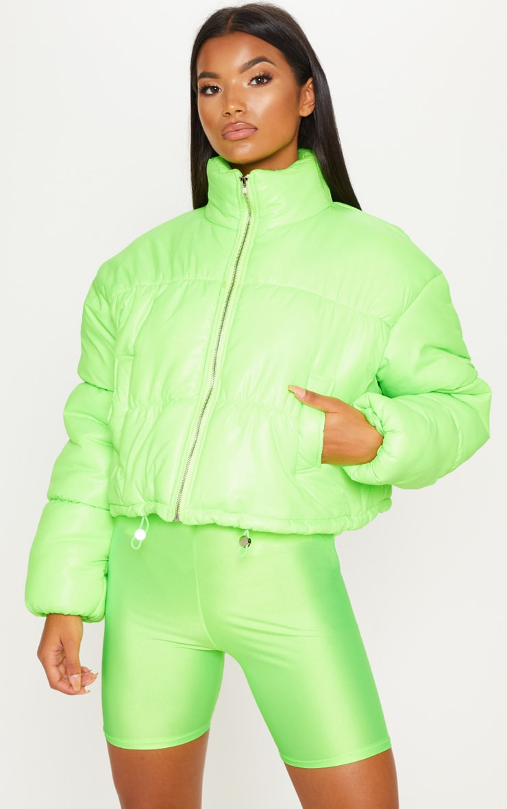 Lime Cropped Neon Puffer Jacket 4