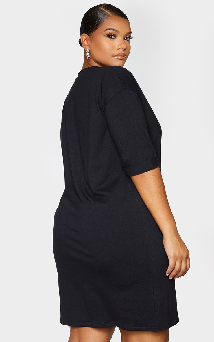 Plus Black Oversized Boyfriend Short Sleeve T Shirt Dress 2