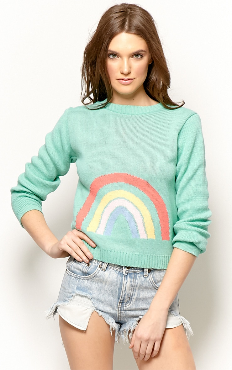 Melanie Mint Rainbow Jumper 1
