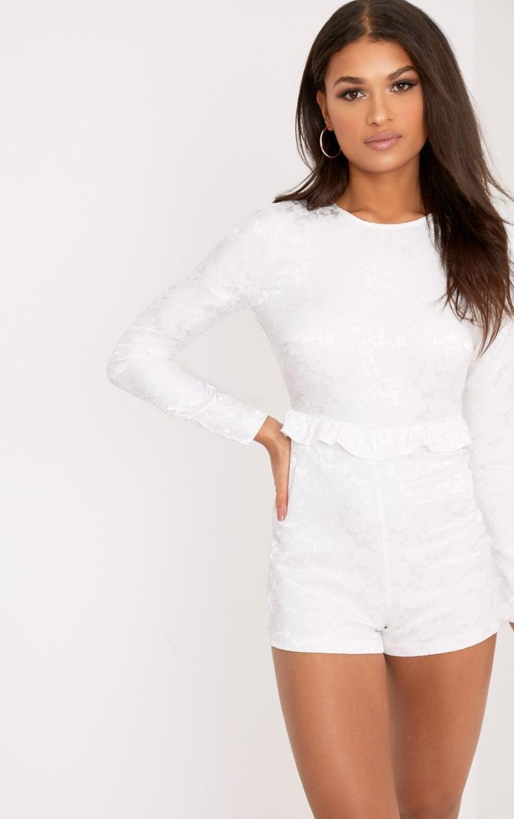 Lateysha White Embroidery Ruffle Open Back Playsuit 2