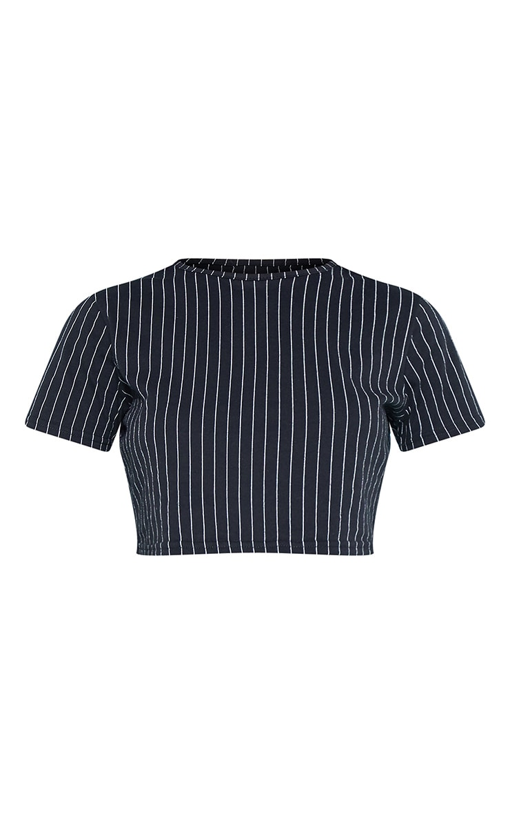 RECYCLED Pinstripe Crop T Shirt Black  3