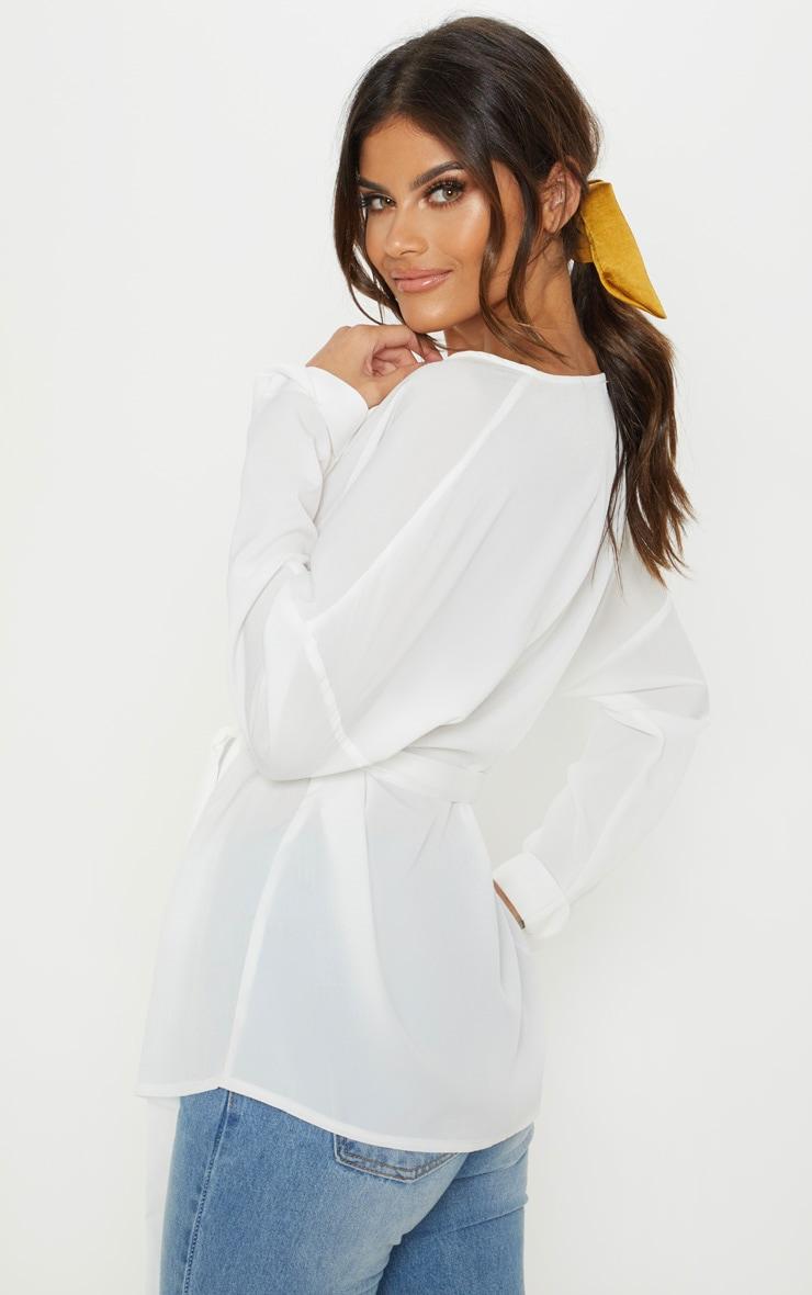 White Plunge Belt Detail Oversized Shirt 2