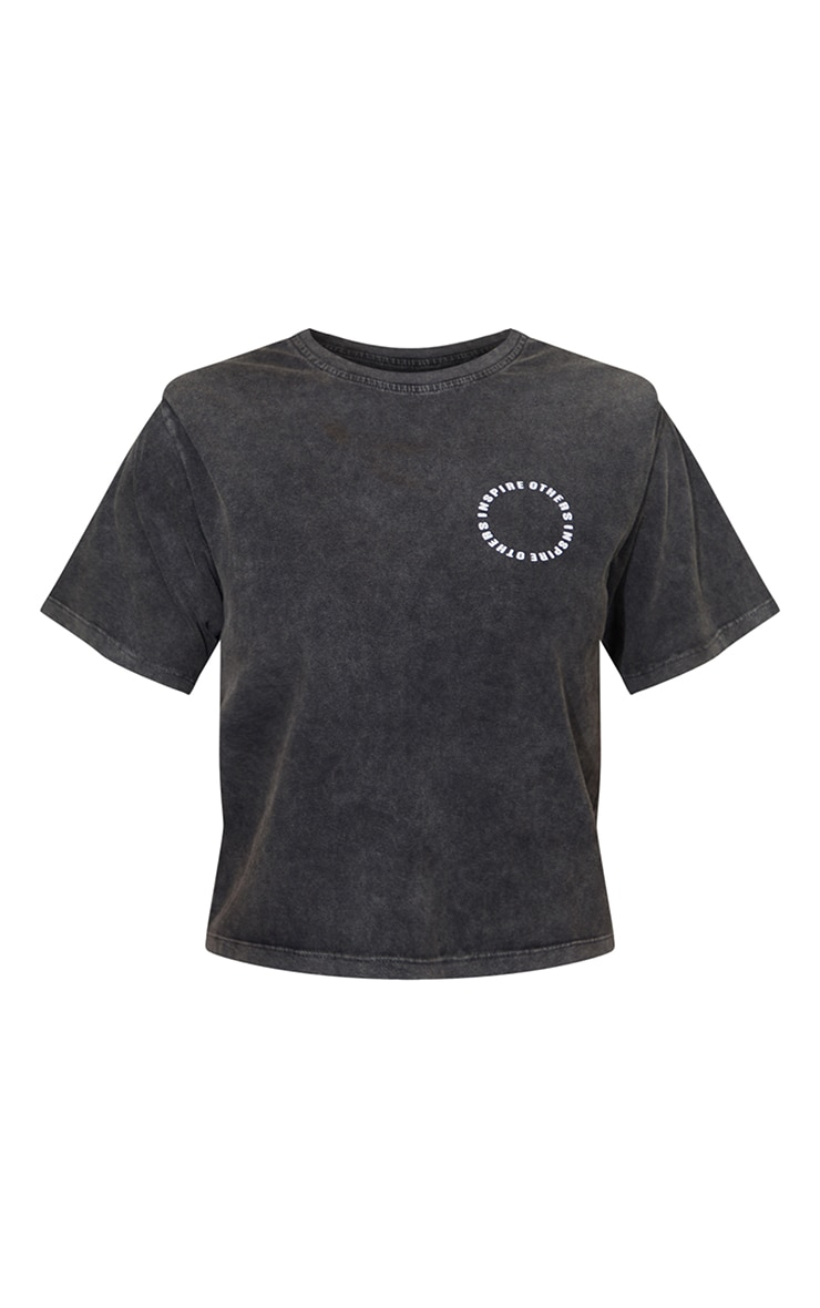 Grey Inspire Others Shoulder Pad Printed Washed T Shirt 5