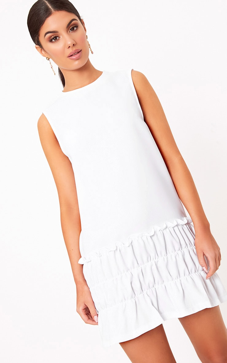 Salinda White Sleeveless Ruffle Detail Shift Dress  1