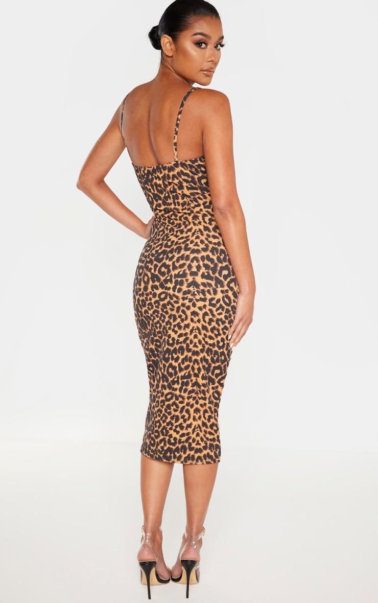 Leopard Print Strappy Cup Detail Midi Dress 2