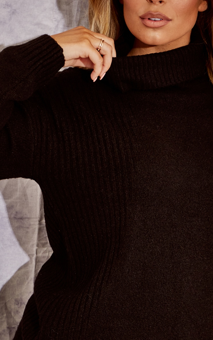 Recycled Black Knitted Slouchy Roll Neck Sweater 4
