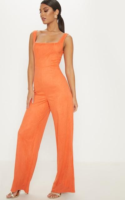 4e57c0cab8848 Orange Faux Suede Square Neck Wide Leg Jumpsuit