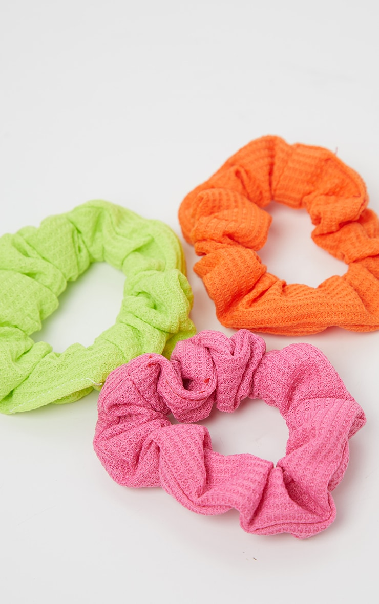 Lot de 3 chouchous - Vert fluo, rose fluo, orange fluo 2