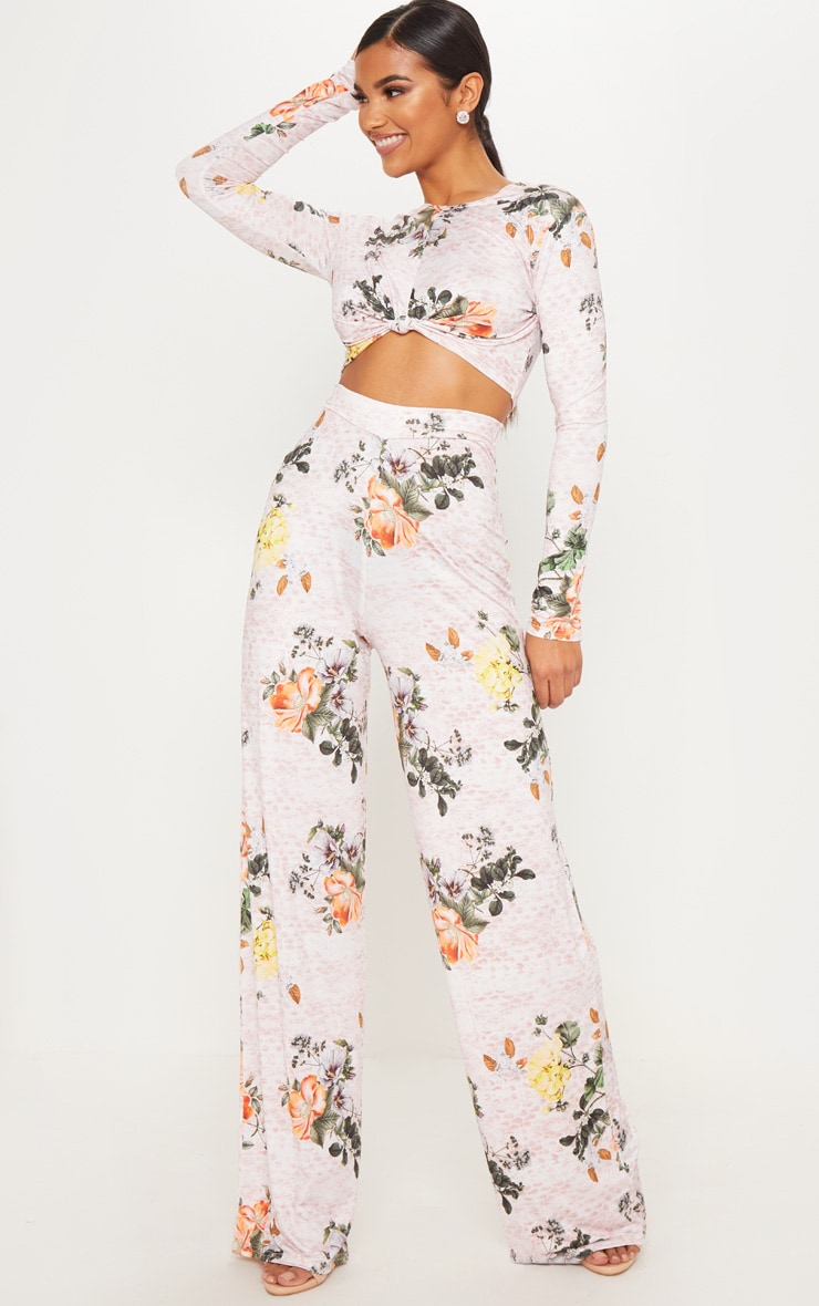 Pink Slinky Floral Print Palazzo Trousers