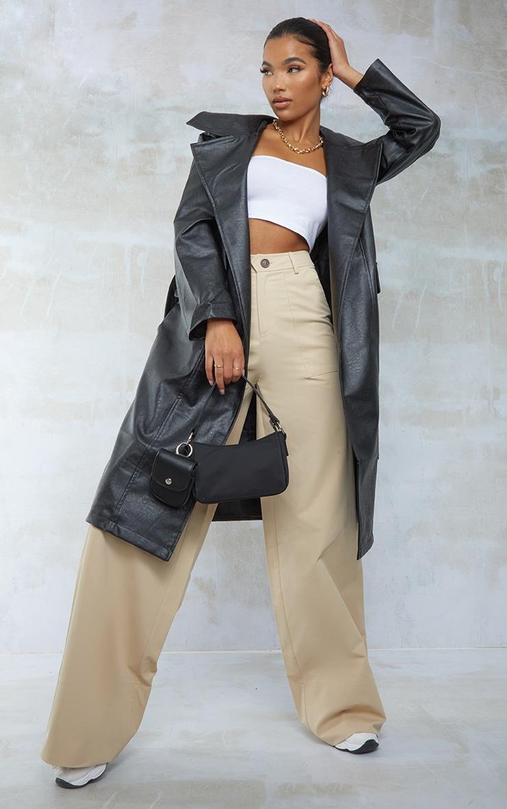 Black Faux Leather Oversized Midi Trench Coat 1