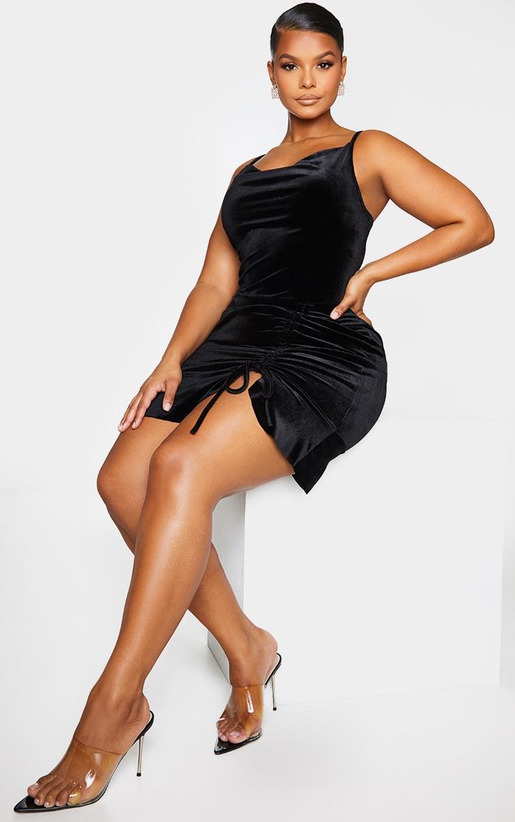 Plus Black Velvet Strappy Ruched Frill Hem Bodycon Dress 1