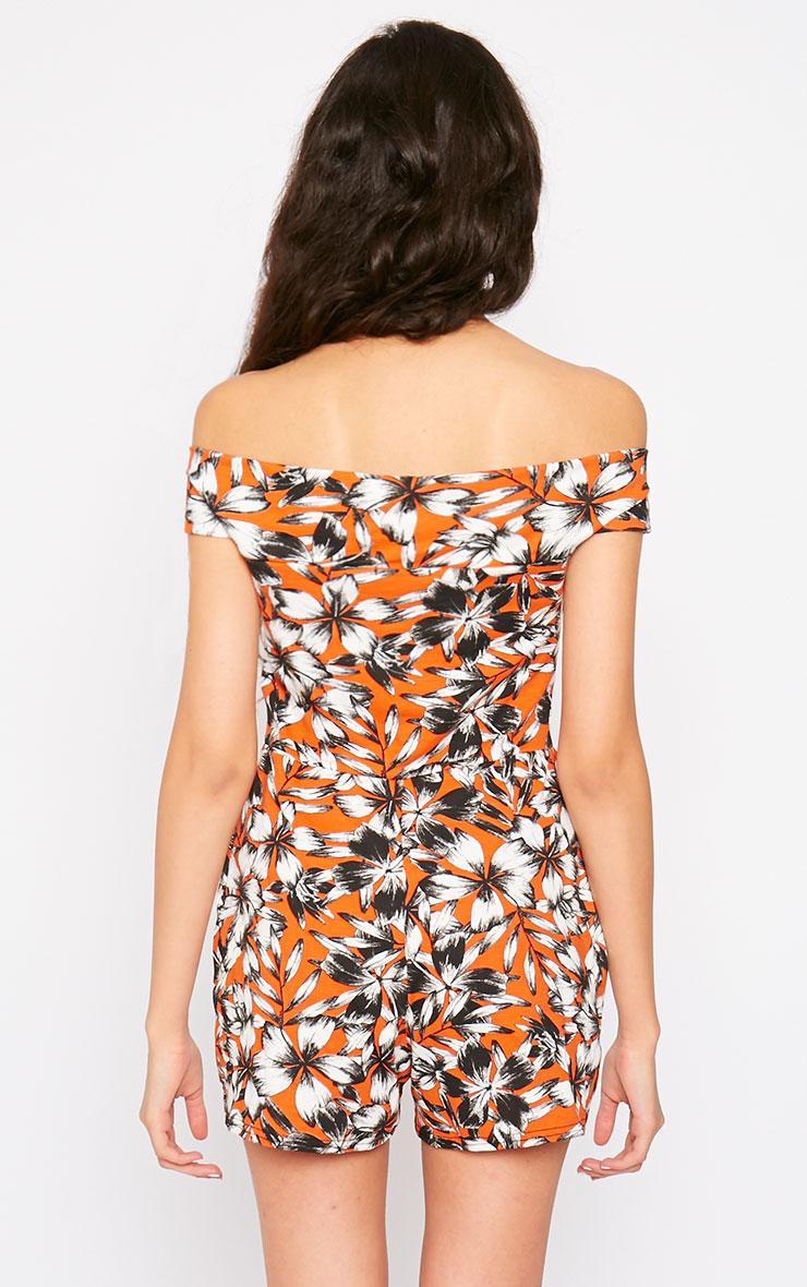 Senta Orange Floral Bardot Playsuit 2