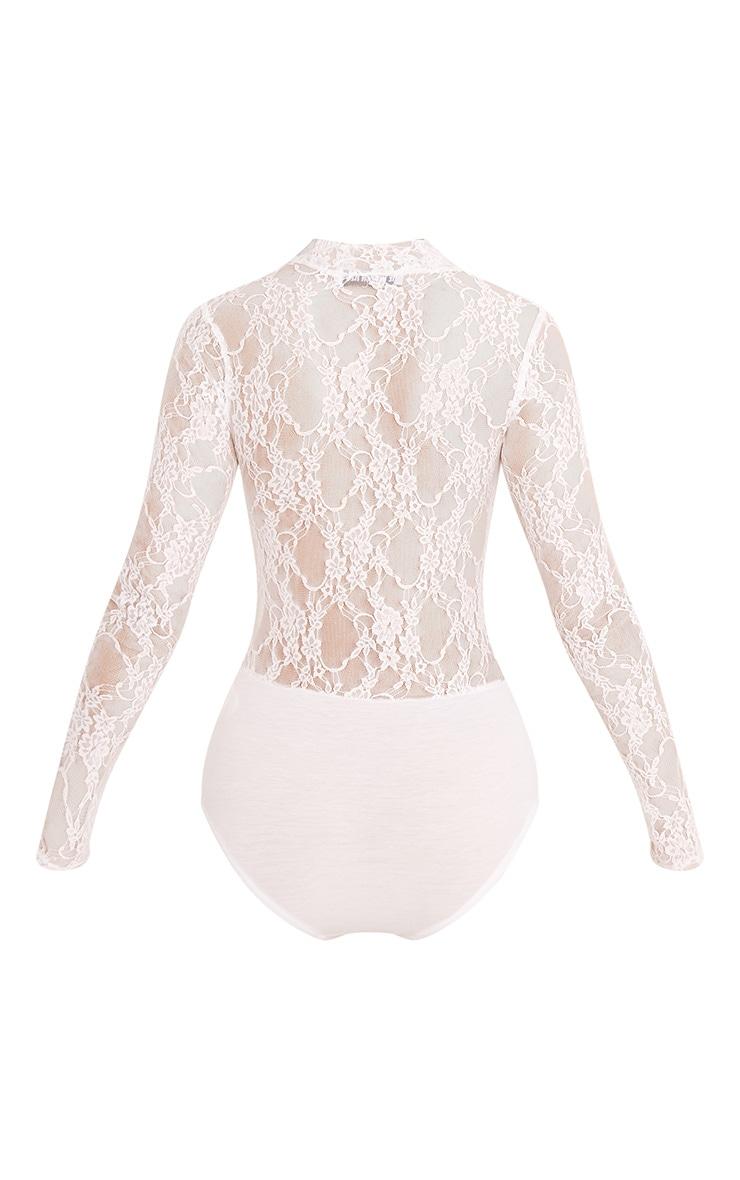 Esmea Cream Lace Longsleeve Thong Bodysuit 4