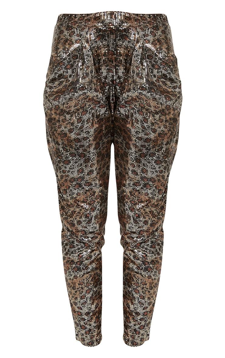 Richelle Gold Leopard Sequin Slouch Trousers 3