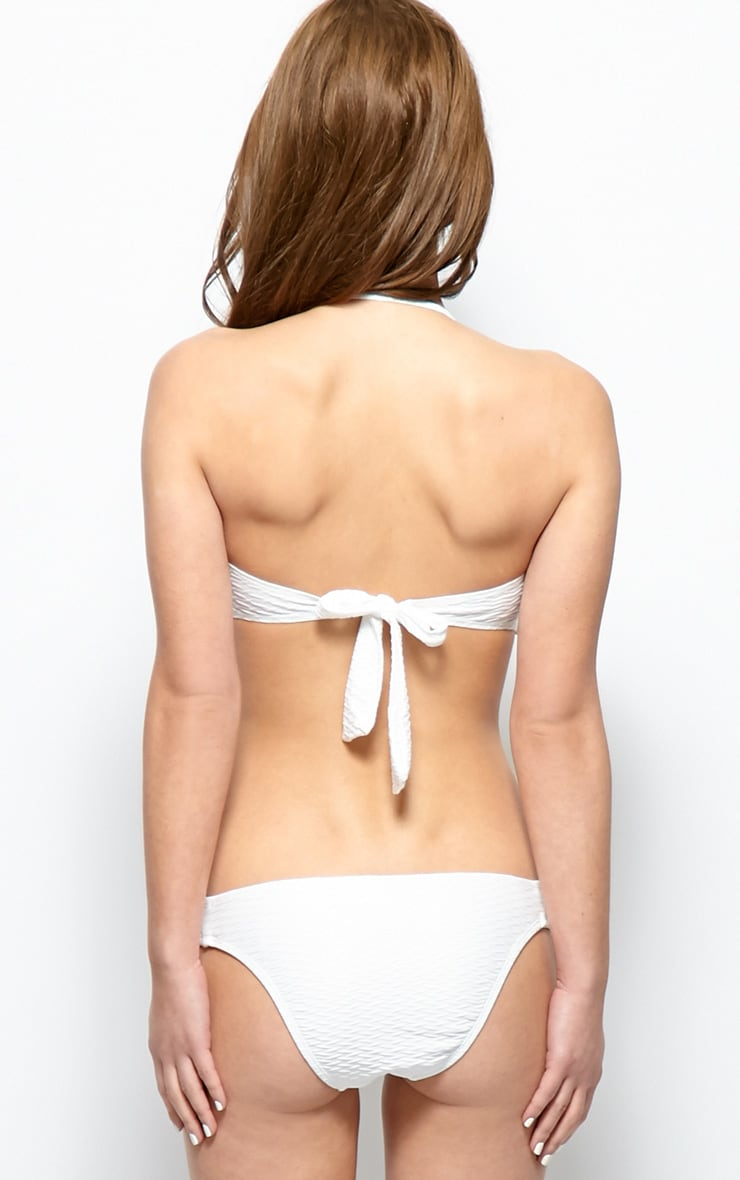 Emmy White Textured Twist Bandeau Bikini  2