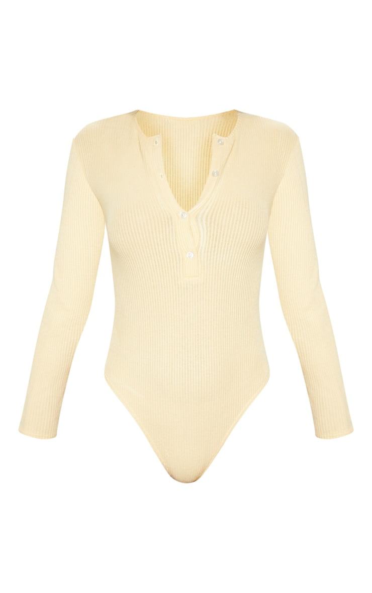 Stone Brushed Rib Button Long Sleeve Bodysuit 3