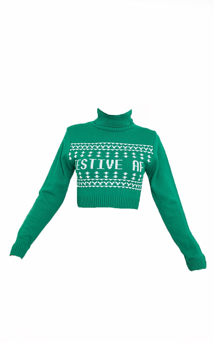 Green Festive Af Fairisle Crop Christmas Jumper 5